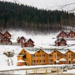 Casitas de madera en el bosque en un paisaje nevado