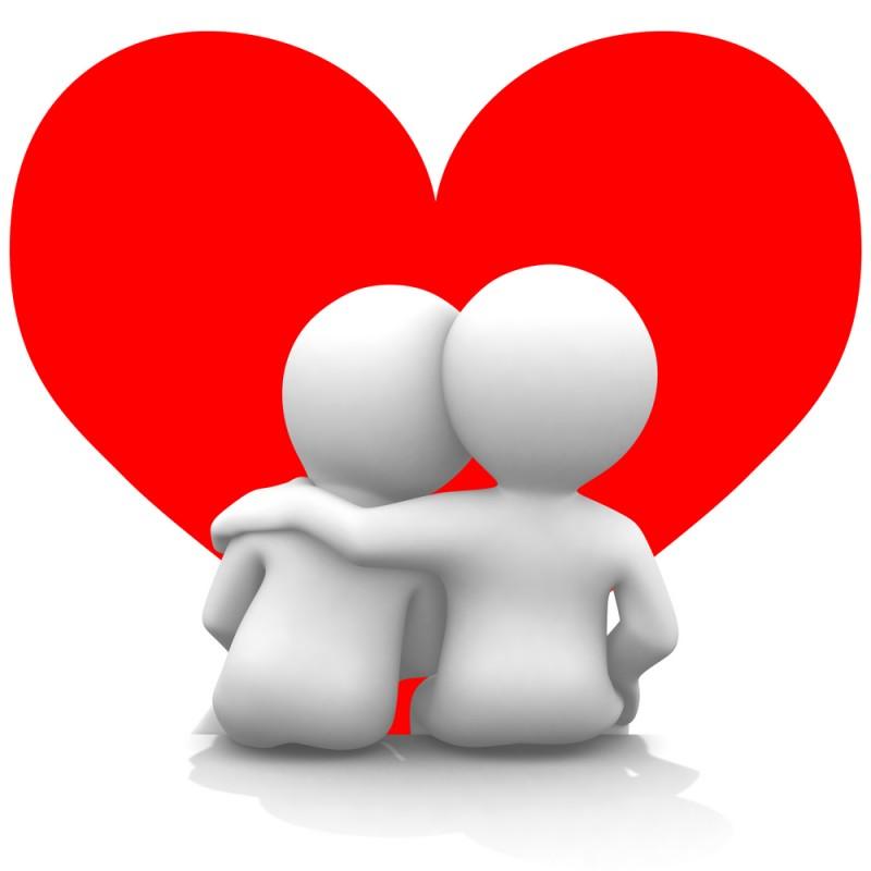 Dos personajillos enamorados contemplando el amor ante ellos