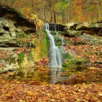 Autumn waterfalls in the forest