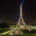The Eiffel tower at night