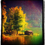 A hut beside the lake