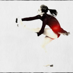 Ice dancer doing acrobatics