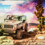 Jeep standing in the mountain rocks