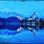 The monastery of the lake in a shiny night