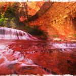 Waterfalls beside the mountain walls