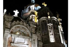 San Juan el Real Campanario Oviedo noche iluminación