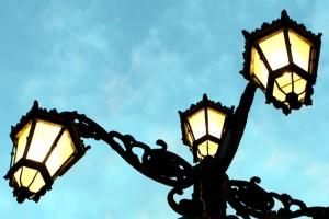Luces de farola en Oviedo
