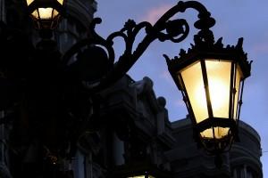 Farolas en la ciudad Oviedo