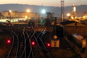 Vías de ferrocarril en la estación de Ourense