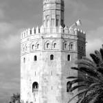 Torre del Oro de Sevilla en blanco y negro