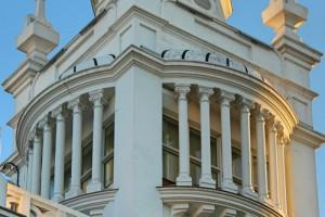 Detalle de la fachada hotel plaza Santa Ana Madrid