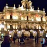 Plaza Mayor Salamanca Ayuntamiento de noche