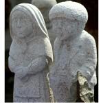 Pareja de esculturas en granito Vilanova dos Infantes Raigame 2016 Celanova – Imagen: Manuel Ramallo