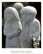 Pareja de esculturas en granito Vilanova dos Infantes Raigame 2016 Celanova - Imagen: Manuel Ramallo
