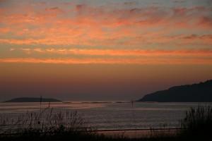 Atardecer en el mar Playa América Panxón