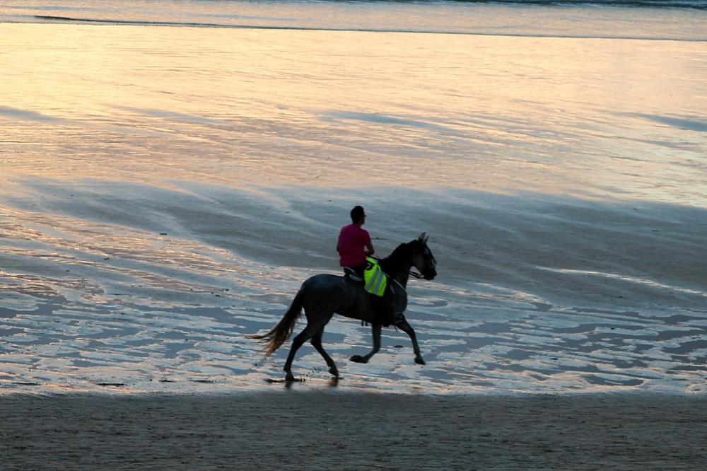 A caballo por la orilla del mar playa América Autor Manuel Ramallo