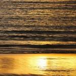Atardecer dorado en playa América Panxón autor Manuel Ramallo