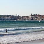 Playa América con puerto de Panxón al fondo autor Manuel Ramallo