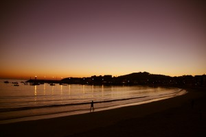 Puerto playa Panxón mar atardecer
