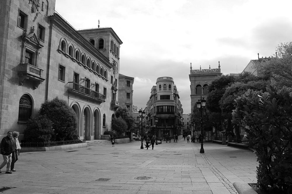Plaza de los Bandos Banco de España b_n B_W Salamanca Autor Manuel Ramallo