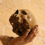 Cráneo en mano de escultura de San Bruno estatua Catedral Jerez de la Frontera autor Manuel Ramallo