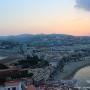 Istmo de Peñíscola al atardecer desde la fortaleza castillo del Papa Luna