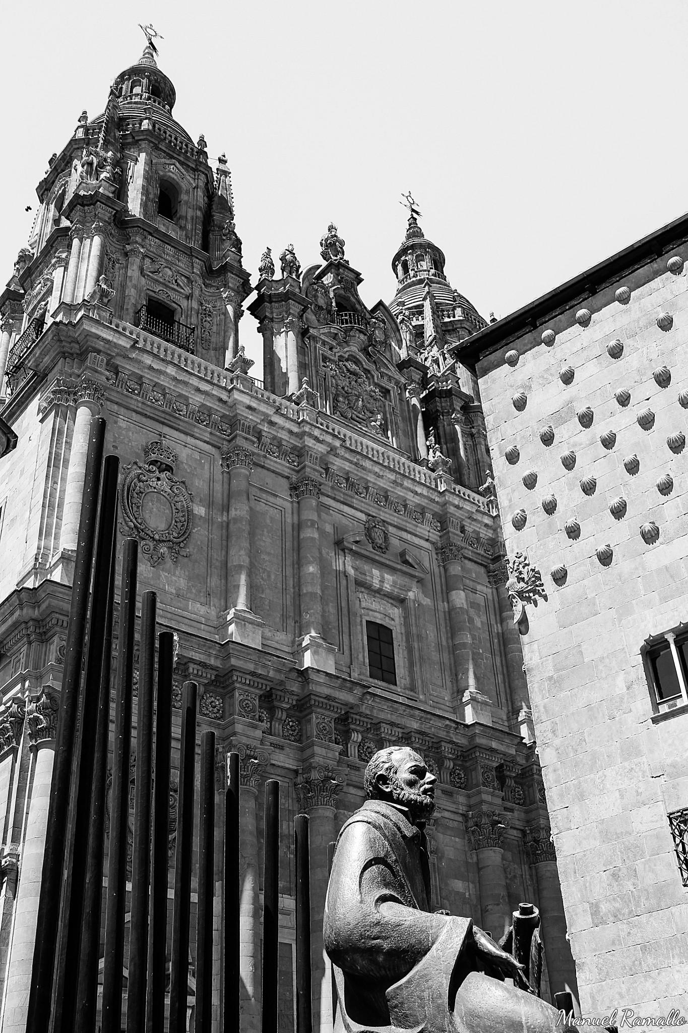 universidad-pontificia-de-salamanca-y-casa-de-las-conchas-escultura-estatua-maestro-salinas