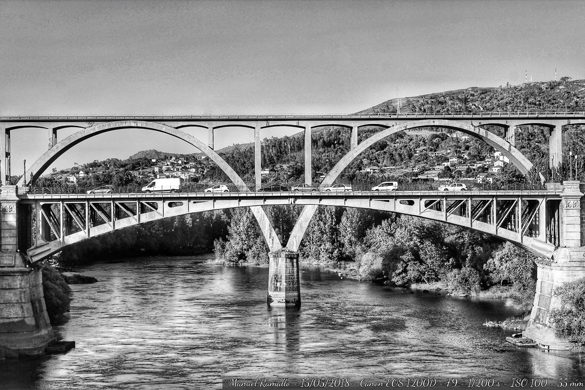 orense-blanco-y-negro-puente-nuevo-viaducto-ferrocarril-rio-mino