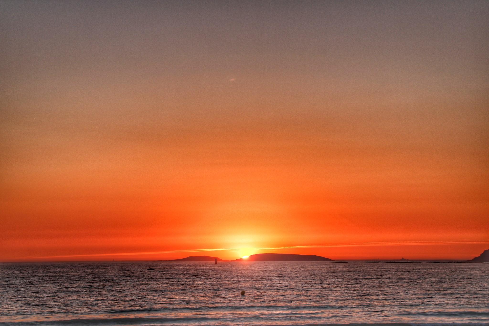 atardecer-sol-playa-america-panxon