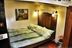 Dormitorio en casa barco en Ámsterdam Holanda
